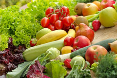 Pile of various fruits and vegetables. Pile of various organic fruits and vegetables royalty free stock photos