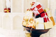 Pile of various gift boxes, Merry Christmas and Happy newyear, a. Nd any anniversay background concept stock image