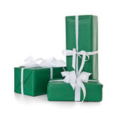 Pile of various green wrapped presents Royalty Free Stock Photography