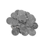 Pile of various Latvian coins Stock Image