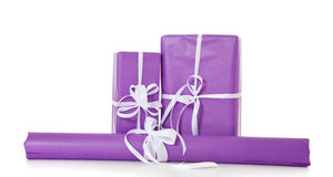 Pile of various purple wrapped presents Stock Image