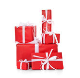 Pile of various red wrapped presents Royalty Free Stock Photos