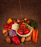 Pile of various vegetables. On linen fabric. Three tomatoes in basket, carrots, paprika, potatoes, onions Royalty Free Stock Photography