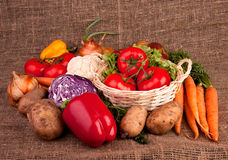 Pile of various vegetables. On linen fabric. Three tomatoes in basket, carrots, paprika, potatoes, onions Royalty Free Stock Photos