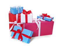 Pile of various wrapped presents Royalty Free Stock Images