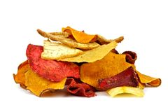 Pile of vegetable chips  on white Royalty Free Stock Photo