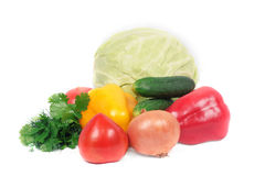 Pile of vegetables. Pile of vegetables isolated on white Royalty Free Stock Images