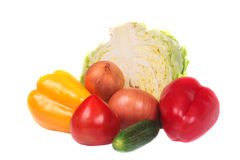 Pile of vegetables. Pile of vegetables isolated on white Stock Image