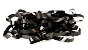 Pile of video tape. Isolated on white background. Magnetic videotapes royalty free stock image
