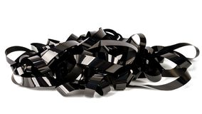 Pile of video tape. Isolated on white background. Magnetic videotapes stock photography