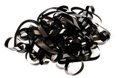 Pile of video tape. Isolated on white background. Magnetic videotapes stock images
