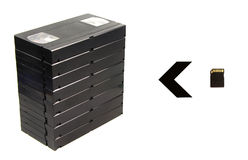 Pile of videotapes and flash card. Stock Image