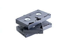 Pile of videotapes on white background. Royalty Free Stock Photos