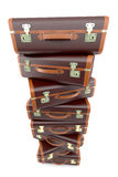 Pile of vintage brown suitcases Royalty Free Stock Image
