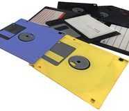 Pile, vintage floppy data computer disks, isolated Royalty Free Stock Image