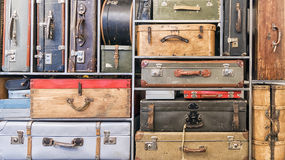 Pile of vintage suitcases. Royalty Free Stock Photography