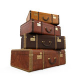 Pile of Vintage Suitcases. Isolated on white background. 3D render Stock Image