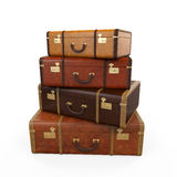 Pile of Vintage Suitcases. Isolated on white background. 3D render Stock Photos
