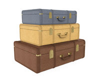 Pile of Vintage Suitcases Isolated Stock Photography