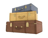 Pile of Vintage Suitcases Isolated Royalty Free Stock Image