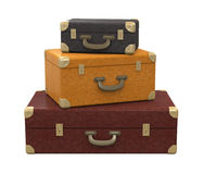 Pile of Vintage Suitcases Isolated Royalty Free Stock Photo