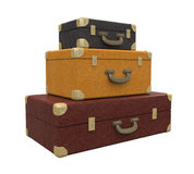 Pile of Vintage Suitcases Isolated Stock Photo