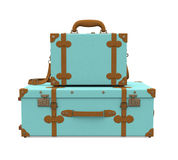 Pile of Vintage Suitcases Isolated Stock Image