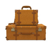 Pile of Vintage Suitcases Isolated Royalty Free Stock Images