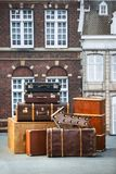 Pile of vintage suitcases. Vintage travel luggage.  Stock Photography