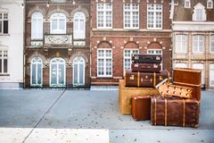 Pile of vintage suitcases. Vintage travel luggage.  Royalty Free Stock Photography
