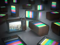 Pile of vintage TV with one in standby. TV channels concept. 3d illustration Stock Photography