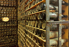 Pile of vintage  wine bottles Stock Photos