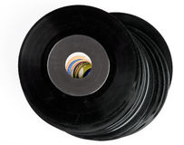 Pile of vinyl records Royalty Free Stock Image