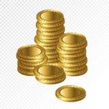 Pile vuote della moneta dell'oro realistico 3d isolate sulla parte posteriore trasparente Fotografia Stock