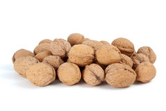 Pile of walnuts. Isolated on the white background Stock Photo