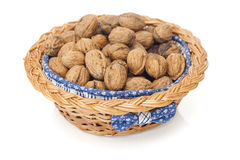 Pile of walnuts. Some walnuts in a basket Stock Photos