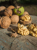 Pile of walnuts and cracked walnut kernels on a wooden chair Stock Images