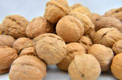 A pile of walnuts on the white background Royalty Free Stock Image