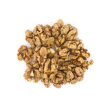 Pile of walnuts isolated on white background. Top view. Royalty Free Stock Images