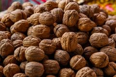 Pile of walnuts at the market Stock Photography