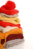 Pile of warm clothes stock photography