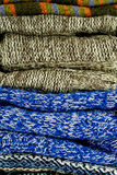 Pile of warm sweaters Royalty Free Stock Photography