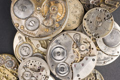 Pile Pocket Watch Jewel Silver Gold Precious Metal. Big Pile of old Watches Stock Photography