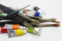 Pile of water color tubes Royalty Free Stock Photos