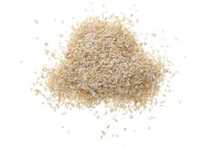 Pile of wheat bran isolated on white background. Top view. Flat lay.  Stock Photo