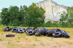 Pile of wheels Stock Images