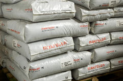 Pile of white bags with macrolon Stock Images
