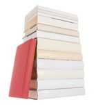 Pile of white books with one red book Stock Photography