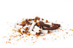 Pile of White and Brown Broken Cigarettes Stock Image