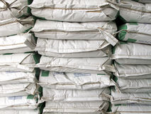 Pile of white paper sacks Royalty Free Stock Photo